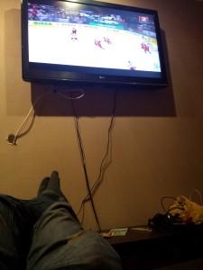 Watching Berlarus Vs. Russia in the hostel